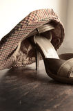 Beautiful woman shoes and hat. Classic design footwear and accessories stock photos