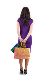 Beautiful woman with shoping bags looking at wall. The rear view stock photography