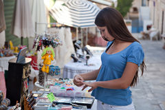 A beautiful woman is shopping Royalty Free Stock Photo