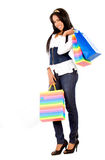 Beautiful woman with shopping Stock Images