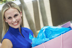 Beautiful Woman With Shopping Bag Stock Images
