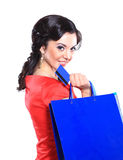 Beautiful woman with a shopping bag Stock Image