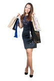 Beautiful woman with shopping bags Stock Photos
