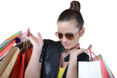 Beautiful woman with shopping bags Stock Photography
