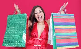 Beautiful woman with shopping bags for Christmas shopping. Royalty Free Stock Photos