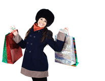 Beautiful woman with shopping bags,  and gifts for family  loved ones Stock Images