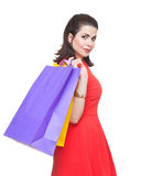 Beautiful  woman with shopping bags. Stock Photos