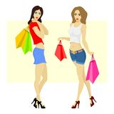 Beautiful woman shopping. Beautiful woman with shopping bags. Vector EPS graphics Stock Photo