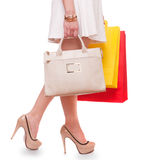 Beautiful woman with shopping bags  on white background, Stock Image