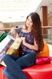 Beautiful woman in shopping center Stock Image