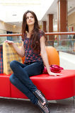 Beautiful woman in shopping center Royalty Free Stock Photos