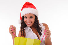 Beautiful woman shopping for Christmas Stock Photos