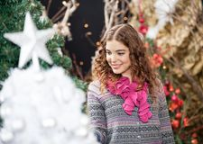 Beautiful Woman Shopping At Christmas Store Royalty Free Stock Image