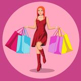 Beautiful woman is shopping. The girl with the packages. Fashionable. Vector illustration in cartoon style stock illustration