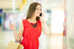 Beautiful woman shopping Stock Images