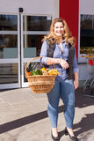Beautiful woman shopping for groceries Stock Photography