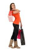 Beautiful woman shopping isolated on white background Stock Photography