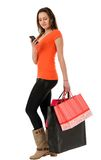 Beautiful woman shopping isolated on white background Stock Images