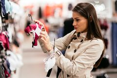 Beautiful woman shopping lingerie. And underware Royalty Free Stock Photos