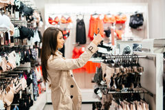 Beautiful woman shopping lingerie. And underware Stock Photos