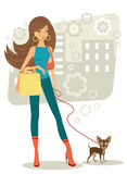 Beautiful woman shopping with little dog Royalty Free Stock Image