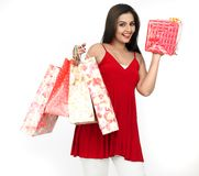 Beautiful woman on a shopping spree Stock Photography