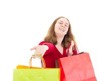 Beautiful woman on shopping tour. Beautiful woman on great shopping tour Royalty Free Stock Photography