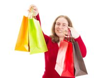 Beautiful woman on shopping tour Royalty Free Stock Photos