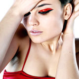 Beautiful woman with short hair. Portrait of a beautiful woman with short hair Royalty Free Stock Photo
