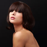 Beautiful woman with short hair and bob posing Stock Photos