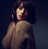 Beautiful woman with short hair in warm cardigan Stock Photography
