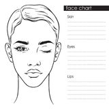 Beautiful woman with short haircut and one eye closed portrait. Face chart Makeup Artist Blank Template vector llustration royalty free illustration