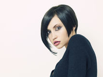 Beautiful woman with short hairstyle. Photo of young beautiful woman with short hairstyle Royalty Free Stock Image