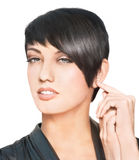 Beautiful woman with short hairstyle Royalty Free Stock Images