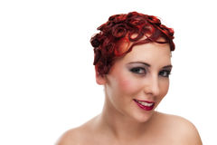 Beautiful Woman with Short Red Hair Stock Photo