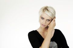 Beautiful woman with short trendy blond hair Royalty Free Stock Image