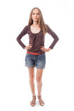 Beautiful woman in shorts,  isolated on white Royalty Free Stock Image