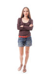 Beautiful woman in shorts,  isolated on white Royalty Free Stock Images