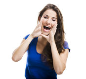 Beautiful woman shouting Stock Image
