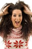 Beautiful woman shouting and holding her hair Stock Photos