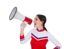 Beautiful Woman Shouting In Megaphone Royalty Free Stock Photo