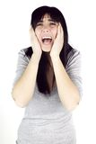 Beautiful woman shouting for strong teeth pain Stock Images