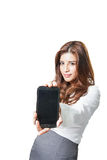 Beautiful woman showing a blank smart phone display Stock Photos