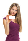 Beautiful woman showing blank visit card Stock Photography