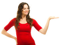 Beautiful woman showing with hand Stock Photography