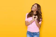 Beautiful Woman Showing Heart Shaped Hands Stock Photos