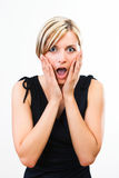 Beautiful woman showing her surprise Royalty Free Stock Image