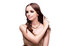 Beautiful woman showing off her jewellery in fashion concept iso Stock Image
