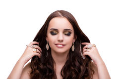 Beautiful woman showing off her jewellery in fashion concept iso Stock Images