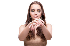 Beautiful woman showing off her jewellery in fashion concept iso Royalty Free Stock Photo